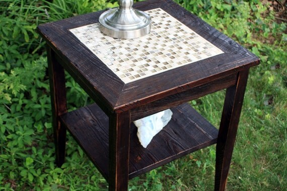 "End Table, Glass & Stone Tile Mosaic, ""Glass in the Ruins"", Reclaimed Wood, Dark Brown Finish - Handmade"