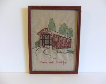 Vintage Embroidered Wall Hanging Covered Bridge