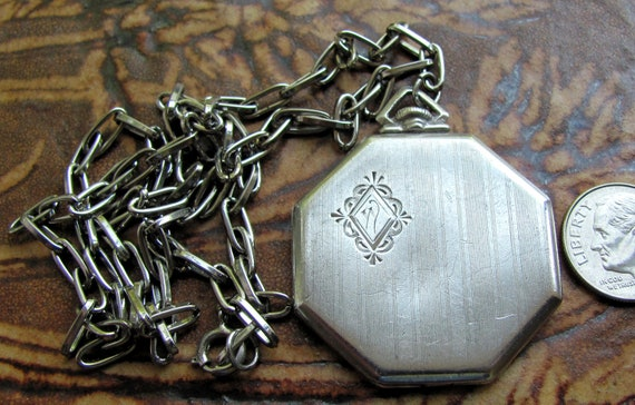 """Hold for Rachel Vintage Antique Sterling Silver LARGE Highly Unusual Hexagonal Unusual Engraved """"Pocket Watch"""" Style Locket, Lockets"""