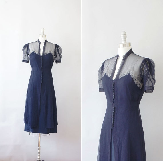 late 1930s early 1940s dress / vintage 30s 40s sheer dress / Orchid Slip