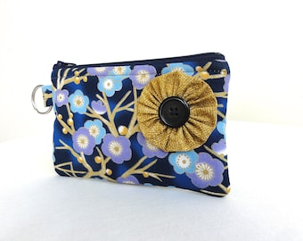 Navy Cherry Blossom Zippered Bag / Coin Purse / ID Case / Gadget Pouch with Split Ring - Ready to Ship