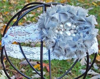 Gray Flower Headband, Gray Chiffon Flower w/ Pearls & Rhinestones White or Gray Lace Headband or Hair Clip, The Felicity, Baby Child Girls