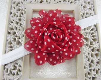 Red Flower Headband - Red and White Polka Dot Large Chiffon Rose White Headband or Hair Clip - The Emma - Baby Child Girls Headband