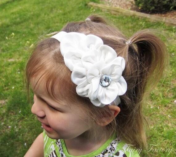 White Flower Headband, Snow White Satin Flower w/ Crystal Headband or Hair Clip, Baptism, Wedding, The Olivia, Baby Child Girls Headband