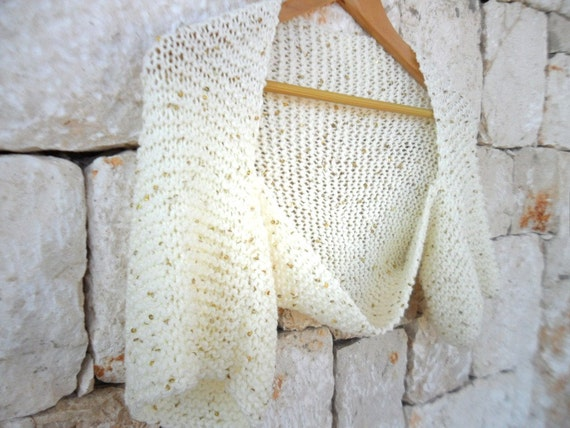 WEDDING,Bridal shrug ,ivory with golden color sequences,handknit,wedding clothing,free shipping worldwide