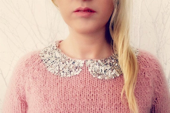 Sequined Hand-Knitted Sweater