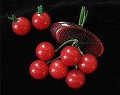 Bakelite Cherry Brooch and Earrings, Book Piece