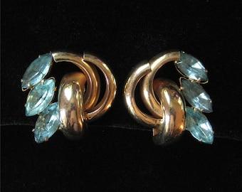Large 1940's Aqua Rhinestone Earrings, Bold Modernist Design