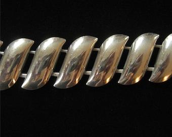 Sterling Silver Wave Link Bracelet, Modern Design