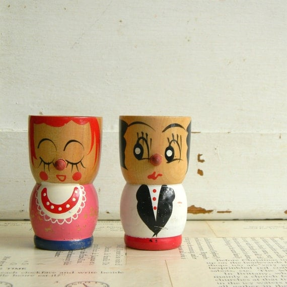 vintage wooden egg cup couple