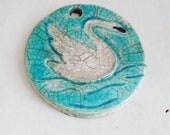 Swan Ornament, turquoise & white, Raku