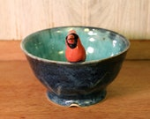 Cardinal Bird Bowl, Turquoise, Blue, Red