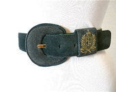 Vintage 1980s Belt Suede Leather Liz Claiborne Forest Green Gold Embroidered in  Women S/M