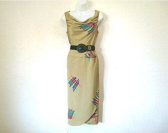 Vintage 80s Dress Olive Graphic design Cowl Neck Sleeveless dress S