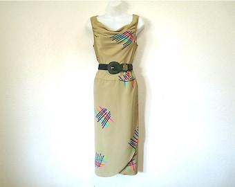 Vintage 80s Dress Olive Graphic design Cowl Neck Sleeveless dress S