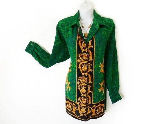 Vintage Snake Skin Print Silk Blouse Green golden Giane Gilman