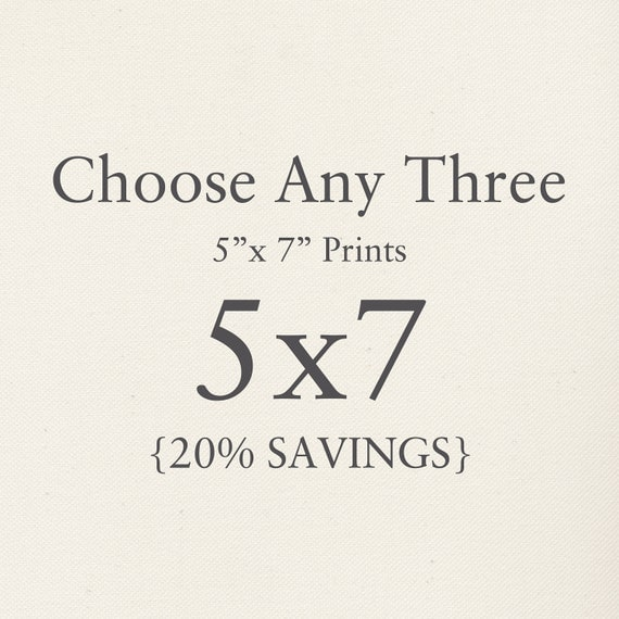 """You Choose Any Three 5""""x7"""" Photographs. Collection. 20% Savings. Affordable Home Decor. Wall Art, Gift Set."""