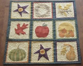Fall Harvest Autumn Wall Quilt or Table Topper with Pumpkins Squash Leaves and Apples