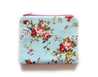 Zipper Pouch - Roses on Blue - Available in Small / Large / Long