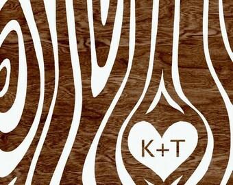 Custom Personalized Couple Initials Woodgrain Faux Bois Heart Typography Art Print  -  8 x 10 - I Wood - Anniversary, Wedding