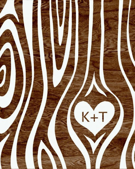 Custom Personalized Couple Initials Woodgrain Faux Bois Heart Typography Art Print  -  8 x 10 - I Wood - Anniversary, Wedding