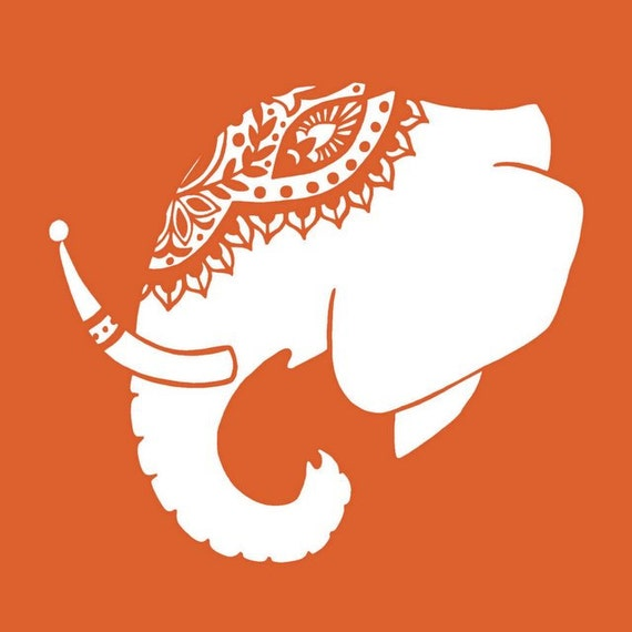 Bright Orange and White Decorated Indian Elephant Head Silhouette Digital Art Print  - 8 x 10 Home Decor Wall Art - Adorned