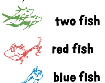 One fish two fish red fish blue fish dr seuss wall decal for One fish two fish red fish blue fish coloring page