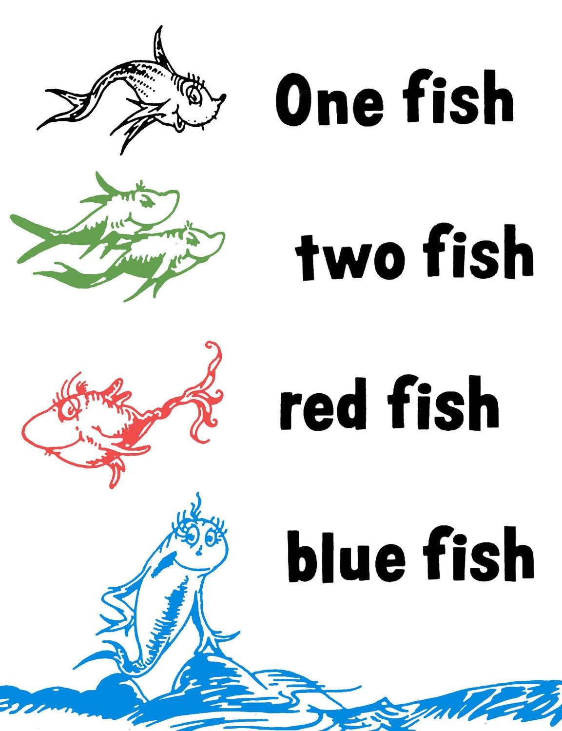 Unavailable listing on etsy for One fish two fish coloring page