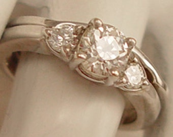 Heirloom Old Euro-Cut Diamond 14Kt Gold Wedding Set