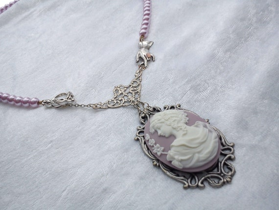Pink cameo necklace victorian hand glass pearls filigree silver lady OOAK