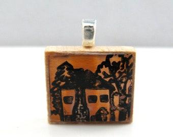 Copper house - Glowing metallic Scrabble tile pendant