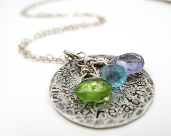Breathe - sterling silver necklace with blue and green gemstones