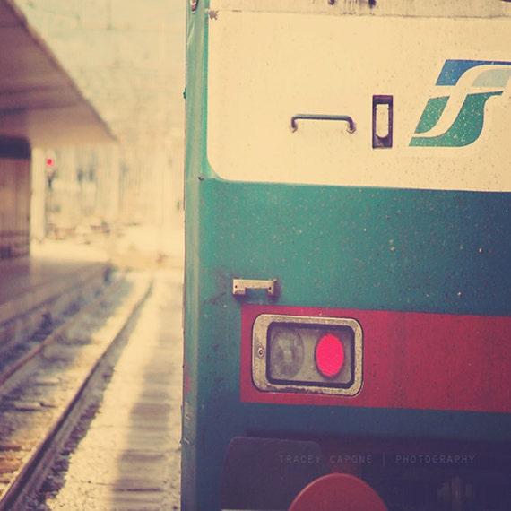 Train Photograph | Italy art print, Florence, train wall art print, crimson, teal, abstract, travel, creme, photograph of train, Italian