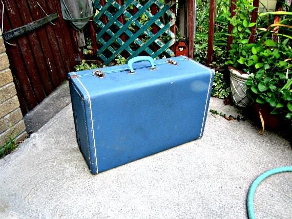Large Blue Suitcase Retro Luggage 1950s