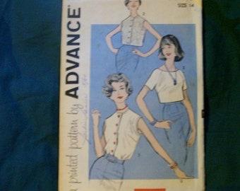 Advance 1960 era pattern 3366 ladies blouse cut pattern size 14