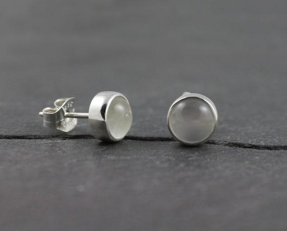 White Moonstone Earrings, Silver Post Earrings