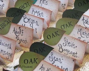 100 Wedding Escort Cards, Place Cards, Green Apple Leaf- Tree Wedding, Vintage - CUSTOM-