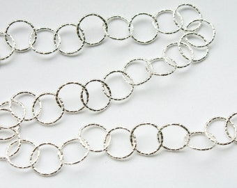 6 feet, Italian Sterling Silver Chain // Textured 10mm Circle Link Chain, M/R090D