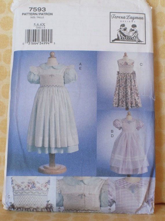 Smocked Dress and Pinafore Pattern, Vogue 7593, sizes 5, 6, and 6x
