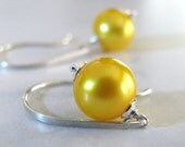 Pearl Earrings, Yellow Pearl Earrings, Sterling Silver, Yellow Earrings, Freshwater Pearl Earrings - Sunshine