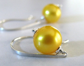 Pearl Earrings, Yellow Pearl Earrings, Sterling Silver, Yellow Earrings, Freshwater Pearl Earrings - Sunshine