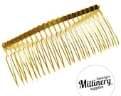 "8.5cm (3.25"") Gold Plated Metal Hair Comb for Fascinators & Millinery"