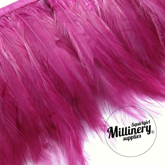 Cerise Pink Hackle Feather Fringe for fascinators, millinery and crafts (Around 60 feathers)