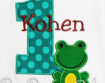 Frog Birthday Shirt, Number, Frog Birthday Number, Custom Colors, Boys Birthday Shirt,Tank,Bodysuit,Romper,Sizes 3m to 12yrs,Gift