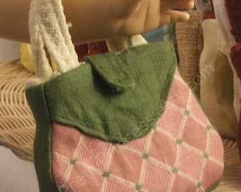 OOAK Miniature Pink Green and Cream Designer Purse for American Girl