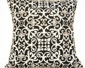 Damask Pillow Covers Black White Gray Geometric Fleur De Lis Decorative Pair 16x16