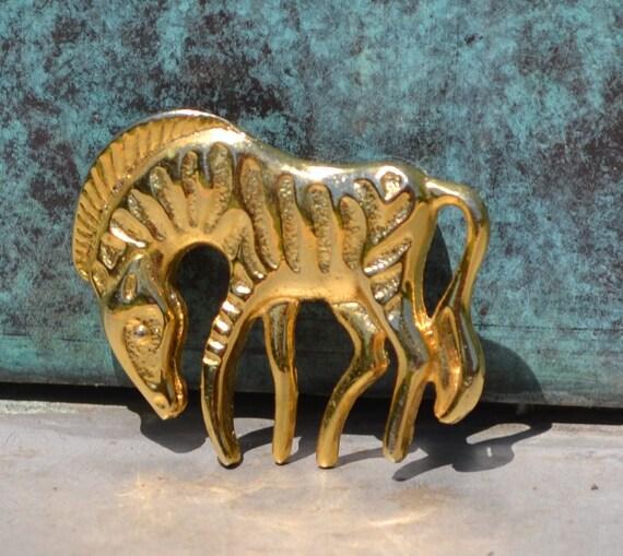 Vintage Brass Zebra Brooch