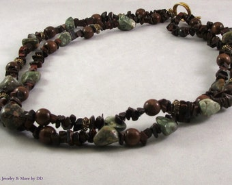 Red Tiger Eye with Ocean Jasper Necklace