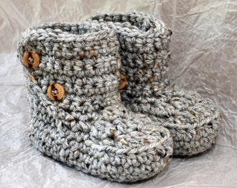 Button Top Booties size 6 - 12 and 12-18  months in natural Tweed