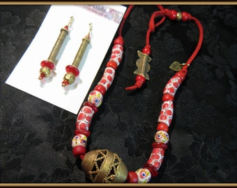 154 Ghana Brass and African beads on Red Suede Necklace and Earrings